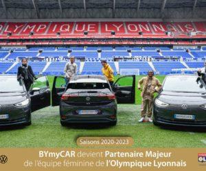 BYmyCAR nouveau Partenaire Majeur de l'Olympique Lyonnais Féminin, 30 Volkswagen ID.3 électriques livrées