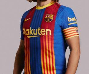 Le FC Barcelone dévoile un maillot évènementiel Nike pour le clasico contre le Real Madrid (11 avril 2021)