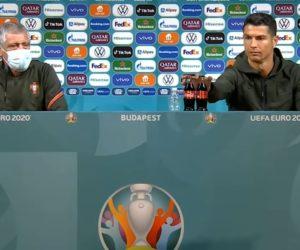 Cristiano Ronaldo «pointe du doigt» Coca-Cola, sponsor de l'UEFA Euro 2020, en conférence de presse