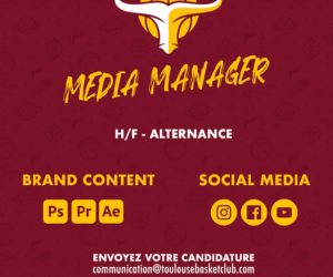 Offre Alternance : Media Manager (H/F) – Toulouse Basket Club