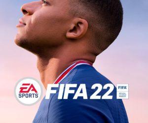 Mbappé sur la pochette du jeu vidéo FIFA 22 d'EA SPORTS sous les couleurs du PSG